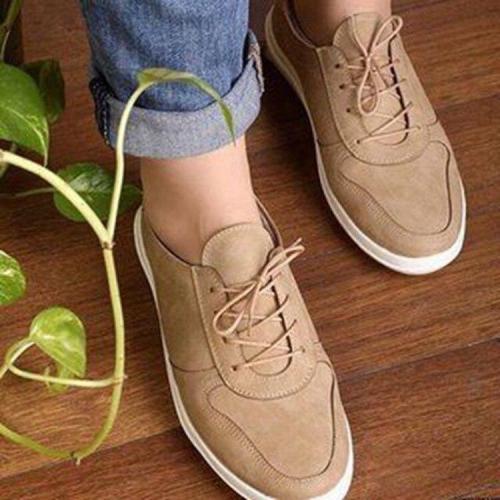 Autumn Women's Shoes Fashion Casual Lace-up Flats New Retro Flat Comfortable Lightweight Women Shoes