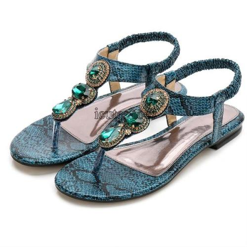 Flat Shoes Bohemia Rhinestone Sandals Women's Retro Sandals