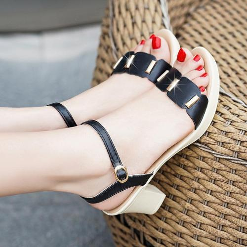 Metal buckle thick heel non-slip sandals summer new  women's shoes female high heels female