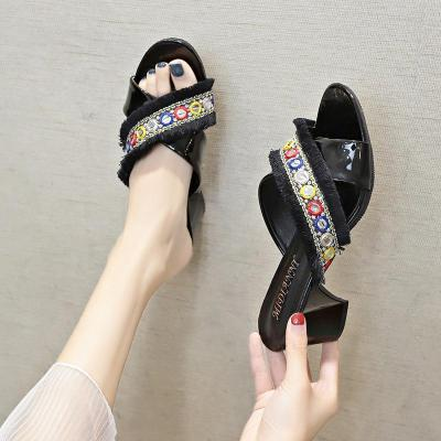 Women's Shoes New Chunky Heel High-heeled Slippers Women's Sandals