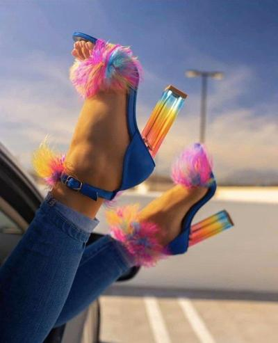 Women Summer Pumps Thin High Heels Peep Toe Faux Fur Sandals Bride Wedding Shoes Woman