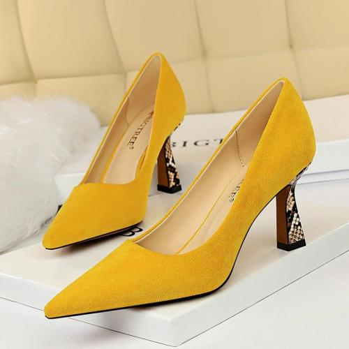 Women High Heels Shoes Office Snake Print Low Heels Pumps Shoes