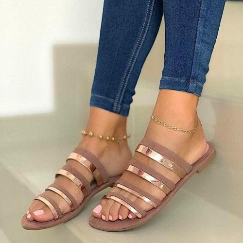 Women Slippers Summer Open Toe Flats Shoes Ladies Beach Shoes Outdoor Casual PU Slides Non-slip Hollow Out Flip Flops