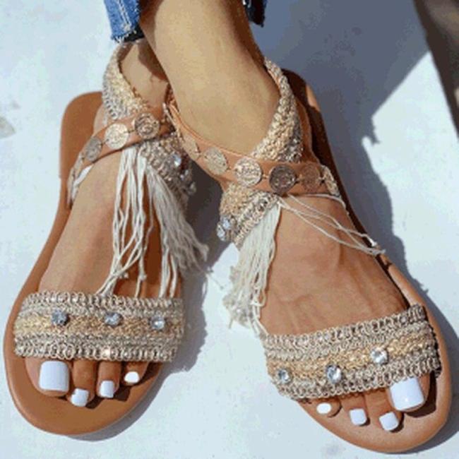 Women Summer Beach Sandals Flats Shoes Woman PU Leather Plus Size Bohemia Shiny Open Toe Sandalias
