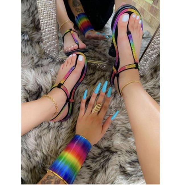 2020 Summer New Women's Flat Sandals Open Toe Rhinestone Outdoor Beach Shoes Fashion Sexy Plus Size 42