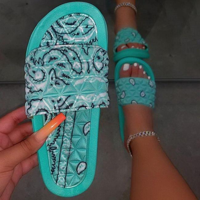 Slippers Flowers Bandana Slides for Women Home Sandals Women's Summer Footwear New