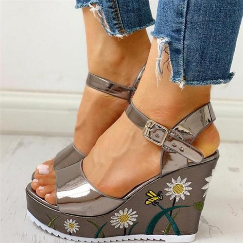 Flowers Leisure Ankle-strap Wedges Women's Shoes Summer Sandals Platform High Heels Shoes Woman