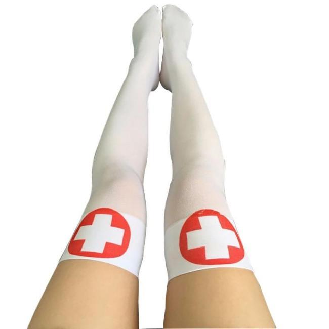 Halloween Stocking Long Sexy Women Horror White Halloween Party Bloody Nurse Fancy Knee Long Zombie Socks