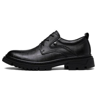 Man Oxfords Genuine Leather Spring Male Dress Shoes High Increase Men's Derby Footwear Brand