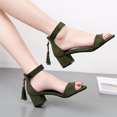 Summer Women zipper Sandals Sexy Thick mid Heels Shoes Woman Gladiator Sandals Women Shoes size