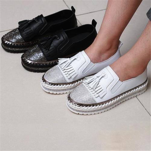 Women Fashion Shining Rhinestone Slip-on Loafers with Tassel