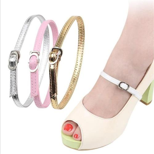 Women Shoelace No Tie Triangle Beam Leather Shoe Lace High-heels Shoelaces Buckle Shoe Bandage Shoelace Shoes Accessories
