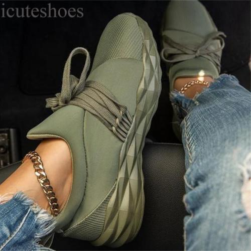 Women Sneaker Lace Up Ladies Walking Running Shoes Round Toe Casual Breathable Non Slip Gym Sport Shoes