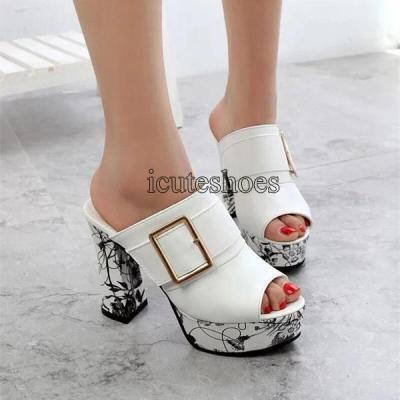 Fashion Summer Women Elegant Buckle High Heel Sandals Peep Toe Platform Shoes Sexy Chunky Heel Shoes Lady