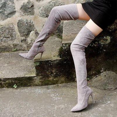 Thigh High Boots Women Sexy Over The Knee Boots Stretch Flock High Heel Long Shoes Woman Big Size