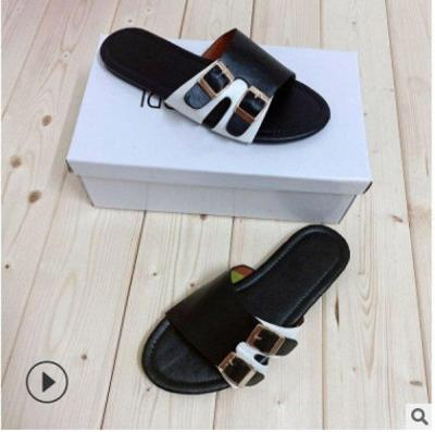 Summer New Women's Shoes Flat Sandals Open Toe Buckle Slippers Outdoor Beach Shoes Fashion Plus Size 41