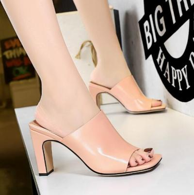 Thick Heel Women's Sandals Summer Open Toe Outdoor Sandals PU Leather Fashion High Heels Shoes Women