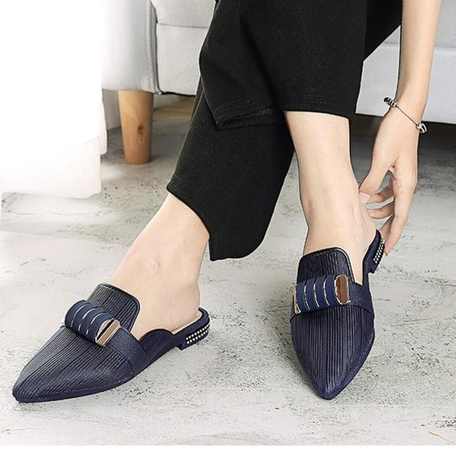 Fashion Summer Slippers Slides Pointed Toe Lady Flats Pointed Toe Shoes
