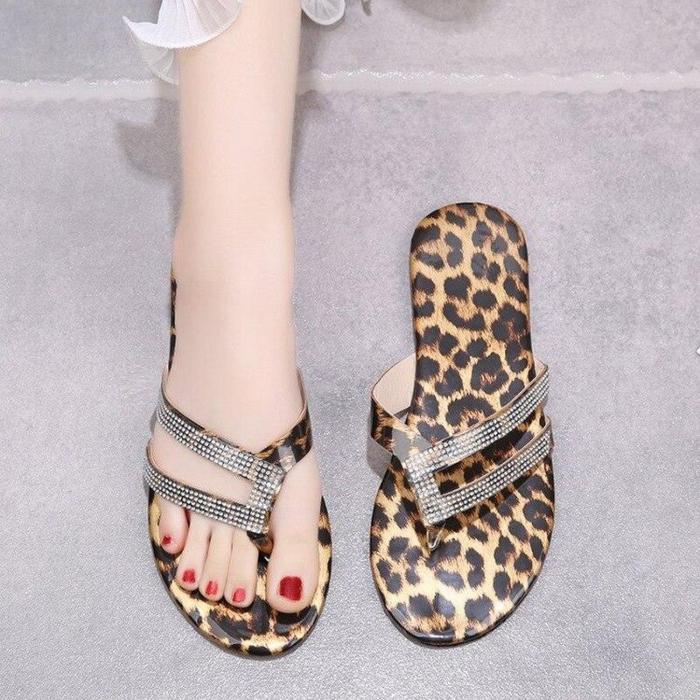 Summer Women Slippers Platform Leopard Crystal Flat Heel Peep Toe Fashion Beach Outdoor