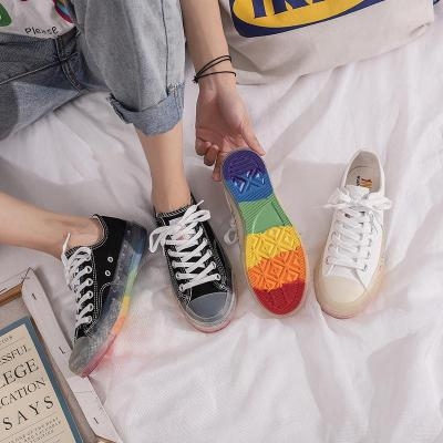 2020 Summer New Ins Shoes Women Rainbow Shoes Elegant Canvas Shoes In Summer