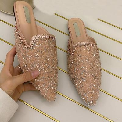 Summer Slippers Slides Shoes Pu Leather Shoes Lady  Flats Pointed Toe