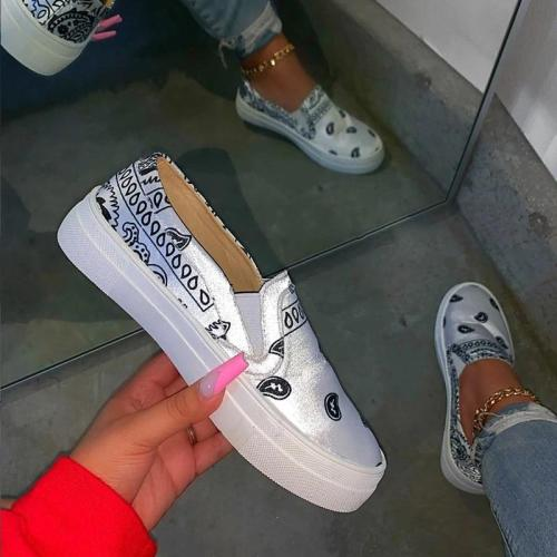 Women Shoes Print Slip On Casual Shoes Fashion Flats Women Shoes Plus Size Female Sneakers Ladies