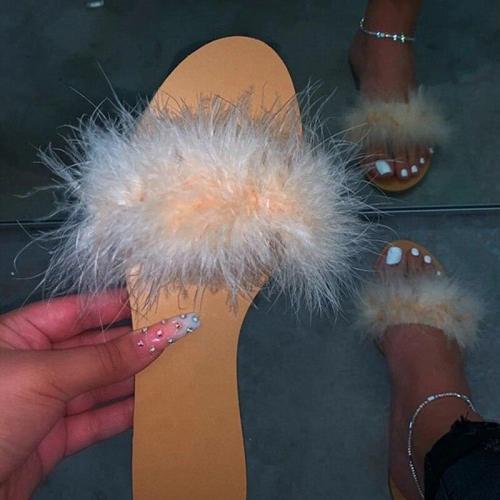 Big Full Fur Slippers Hair Slides Beach Slides Holiday Fox Fur Slides for Women