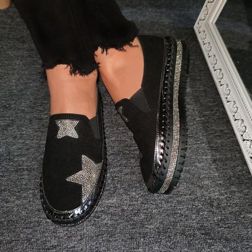 Women Star Pattern Rhinestone Slip On Flat Shoes