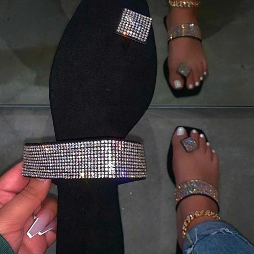 New Flat Bottom Outdoor Slippers Fashion Sexy Comfortable Flip-Foot Roman Rhinestone Outdoor Plus Size Slippers