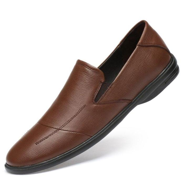 Mens Loafers Genuine Leather Summer Man Shoes Slip on Black Brown Boat Shoe Male Moccasins Flats Breathable
