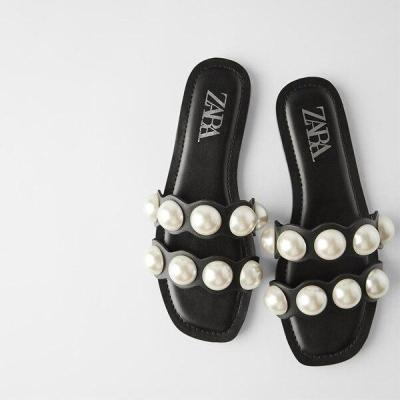 Summer 2020 New Style Women Shoes Fashion Pearl Transparent Beaded Inlay Flat Bottom Outdoor Beach Shoes Plus Size