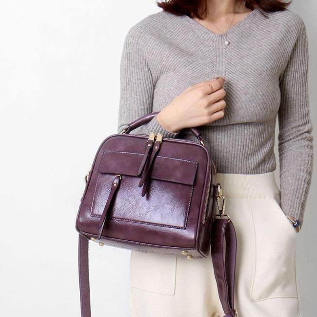 Retro Shoulder Bag for Women Genuine Leather Handbags Ladies Messenger Crossbody Bag Fashion Shell Bag Female High Quality