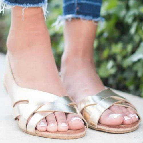 Women Summer Sandals Solid Casual Platform Flat Heels Peep Toe Back Strap Leisure