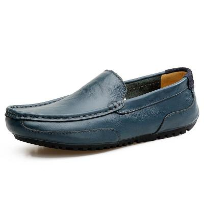 Men Casual Shoes Summer Genuine Leather Mens Loafers Hollow Out Slip on Driving Shoes
