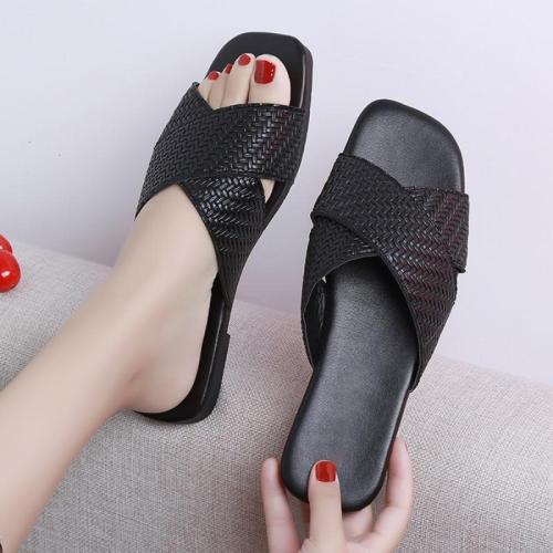 Women Slippers Female Slides Sandals Flat Leather Shoes Solid