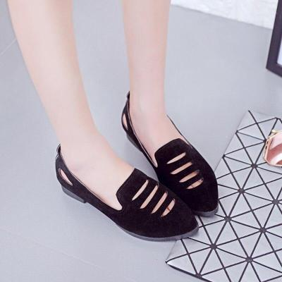 Women Flock Loafers Shoes Fashion Breathable Flats Shoes Pointed Toe Slip On Shallow Flats