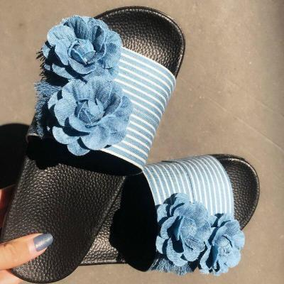 Women Summer Flower Denim Slippers Flower Flat Heel Platform Peep Toe Slides Casual Sandals