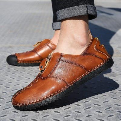 Men Shoes Handmade Loafers Leather Casual Shoes Breathable Driving Shoes Big Size