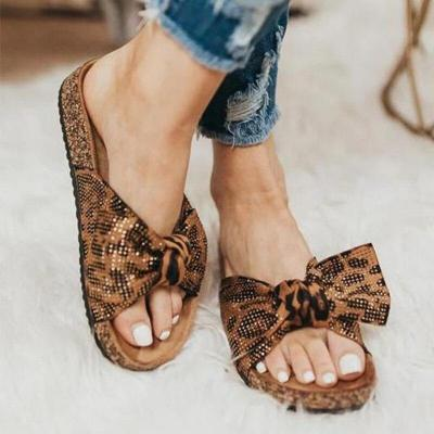 Women Leopard Slippers Summer Footwear Ladies Fashion Flats Casual Beach Shoes