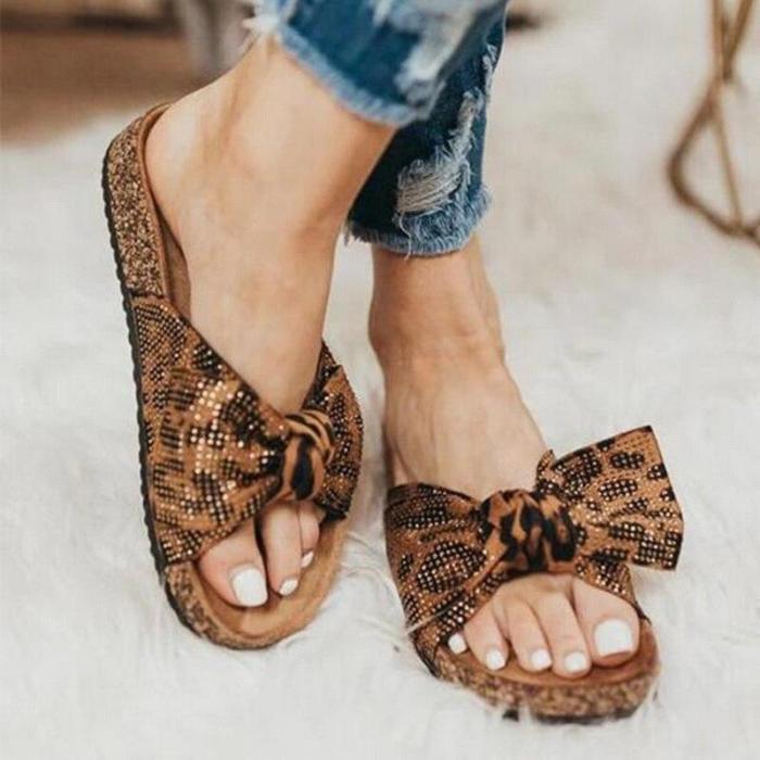 Women Leopard Slippers Summer Footwear Ladies Fashion Flats Casual Beach Shoes