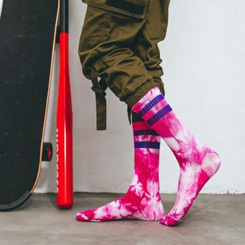 New Arrival Men Women Socks Tie-dye Breathable Cotton Socks Casual Colorful Novelty Pattern Funny Socks