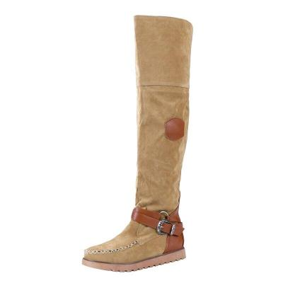 New Winter Pu Leather Women Knee High Boots Low Heels Platform Ladies Warm Shoes Slip-On Vintage Riding Boot