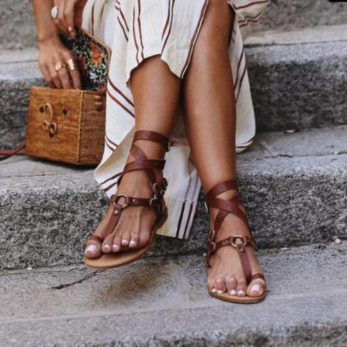 New Summer Open Toe Flat Sexy Flip Flops Women Cross Strap Beach Shoes Ankle Strap Gladiator Sandals