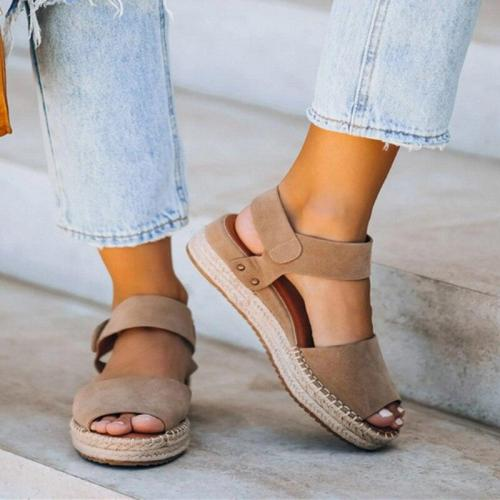 Ladies Summer Flat Platform Sandals Woven Slippers Peep Toe Solid Wedges Women Roman Shoes Sandals