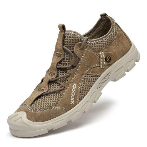 Men Casual Shoes Fashion Summer Suede Leather Mesh Shoe Male Leisure Walking Footwear Man Sneakers