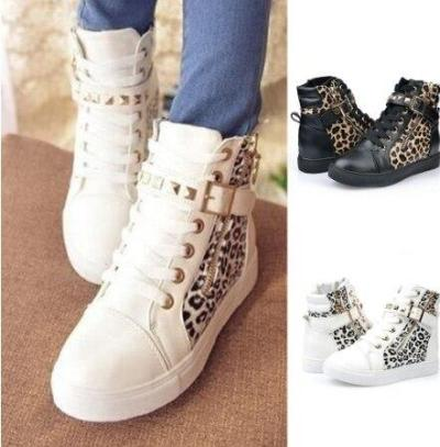 Fashion Women's Sneakers Casual Shoes Women High Top Leopard Printed Shoes