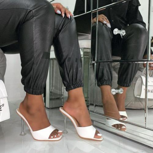 Platform Slides Women High Heels Sandals Clear Heels Mules Slipper Square Peep Toe White Shoes