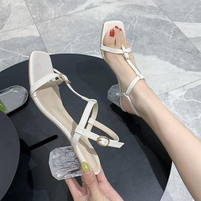 Woman Red Sandalias Fashion T-Strap Clear Square Heels Sandals Women Summer Sexy Party Wedding Female Shoes