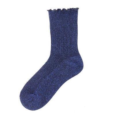 Chic Women's Stringy Selvedge Glitter Socks Gold Sliver Shiny Ankle Socks Casual Ladies Bright Retro Sox Piles Sock Female