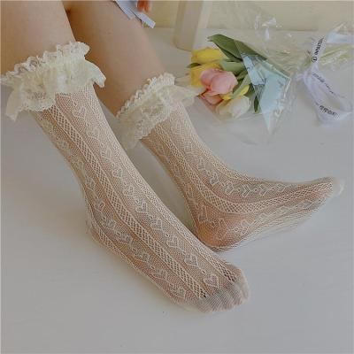 Women's Thin Lolita Princess Lace Socks Vintage Ladies Girl's Love Heart Jacquard Princess Socks Female Hosiery Sox